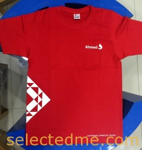 Red color round neck T-shirt withscreen printing in Dubai UAE